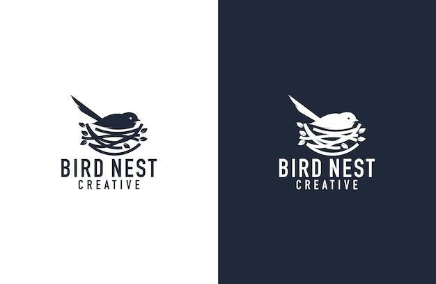 Awesome bird and nest logo  illustration Premium Vector