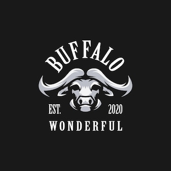 Awesome buffalo logo  with black background