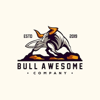 Awesome bull logo design vector