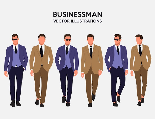 Awesome businessman vector illustrations
