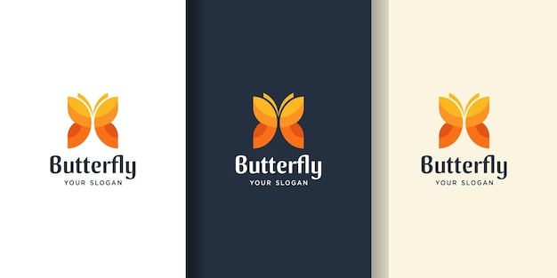 Awesome butterfly color logo. logo and business card templates