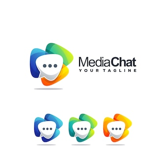 Awesome chat logo design vector
