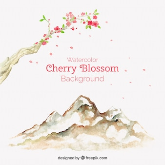 Awesome cherry blossom background in watercolor style