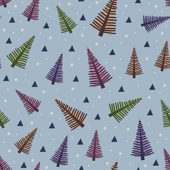 Удивительная рождественская елка бесшовный узор многоцветный