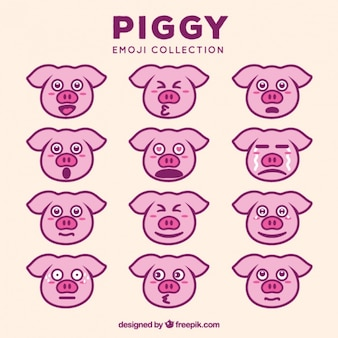 Awesome collection of expressive pig emoticons