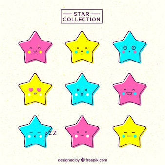 Awesome collection of stars with cute faces