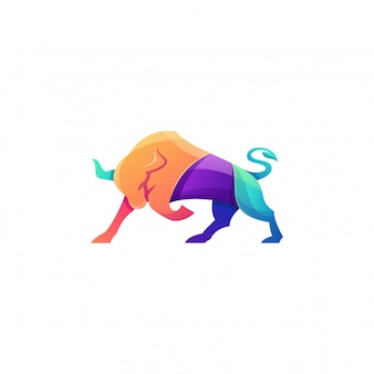 Awesome colorful angry bull logo