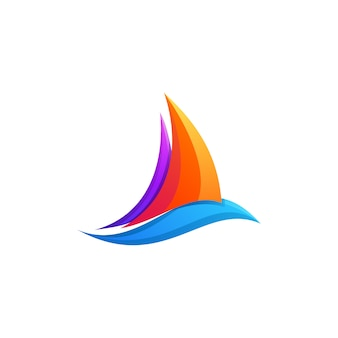 Awesome colorful boat gradient logo design