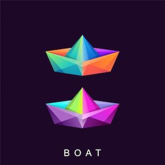Awesome colorful boat logo design vector