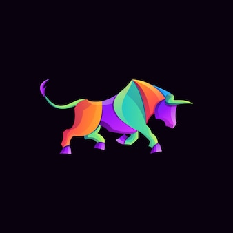 Awesome colorful bull gradient logo
