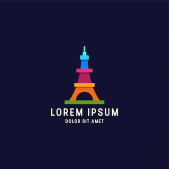 Awesome colorful eiffel tower logo design template