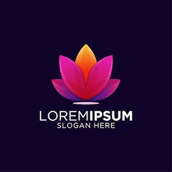 Awesome colorful gradient artwork lotus logo template
