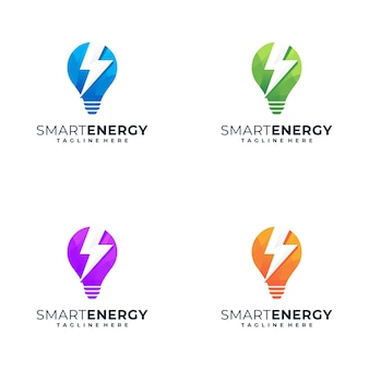 Awesome colorful logo design with the concept of lights and symbols of energy