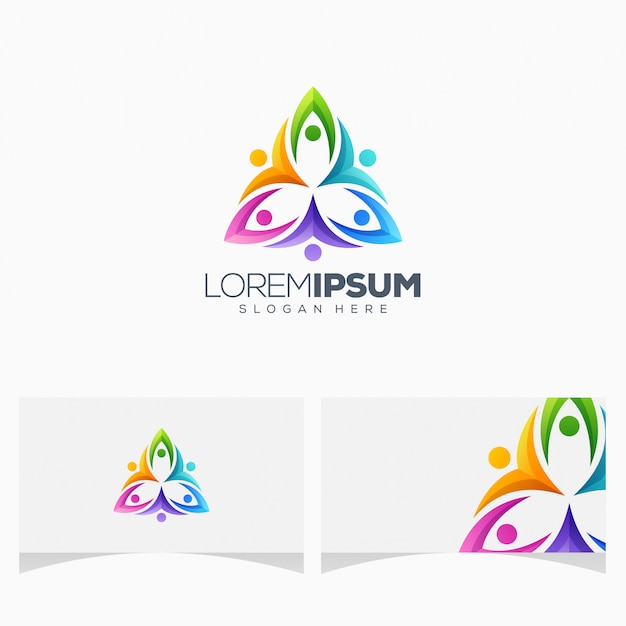 Awesome colorful people logo design