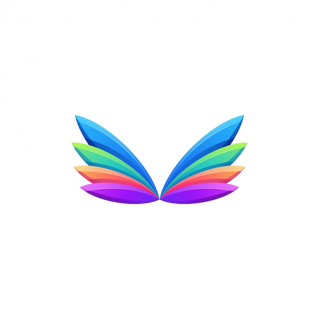Awesome colorful wings logo