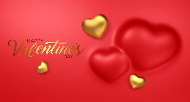 Потрясающий выпуклый фон с реалистичными золотыми сердечками 3d