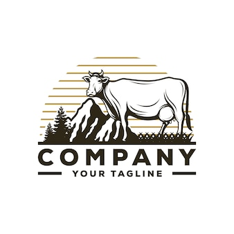 Awesome cow farm logo vector