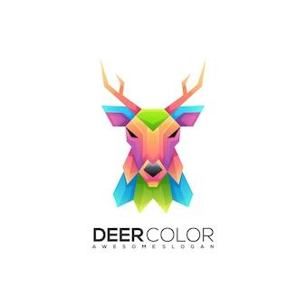 素晴らしい鹿のカラフルなグラデーションのロゴ