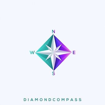 Awesome diamond compass premium logo