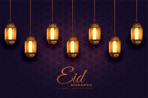 Awesome eid mubarak festival light lamps background