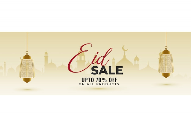 Awesome eid sale banner with hanging lanterns