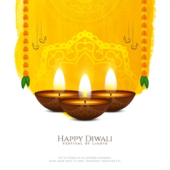 Awesome elegant happy diwali festival with lamps