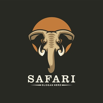 Awesome elephant head logo, safari logotype