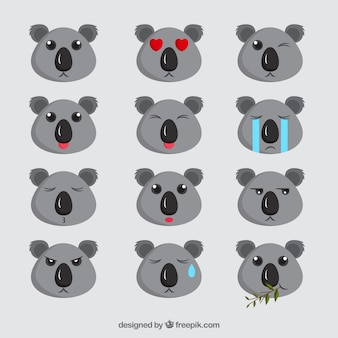 Awesome emoji collection of cute koalas
