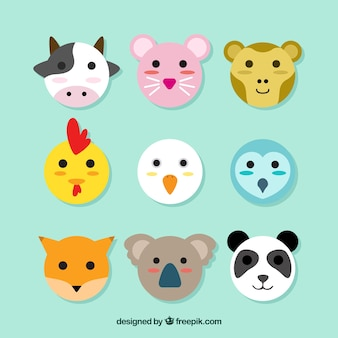 Emoticon impressionante di animali rotonde