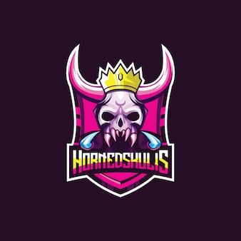 Awesome esport logo for game. demon skull head with horns