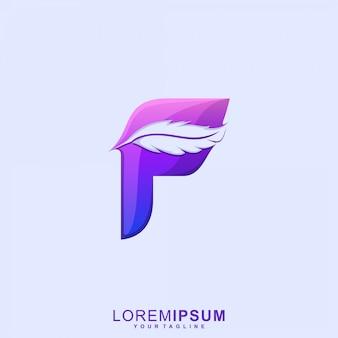Удивительное перо буква f премиум логотип