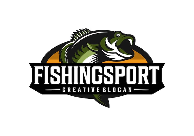 Awesome fishing sport logo design template