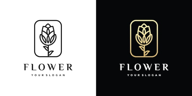 Awesome flower outline logo