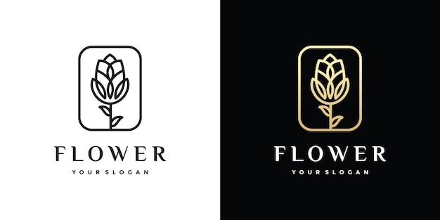 素晴らしい花のアウトラインのロゴ