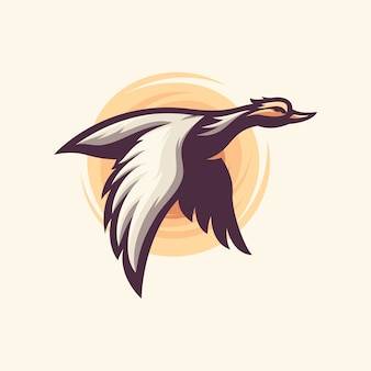Awesome flying duck illustration design