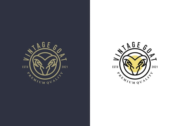 Awesome goat head luxury logo design template