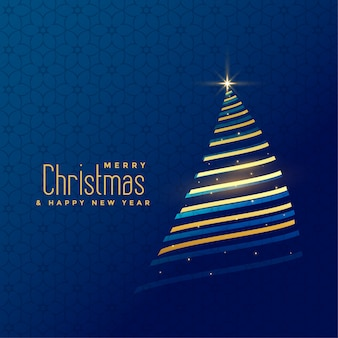 Awesome golden line christmas tree background