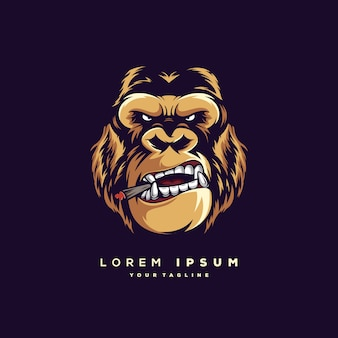 Awesome gorilla logo design vector