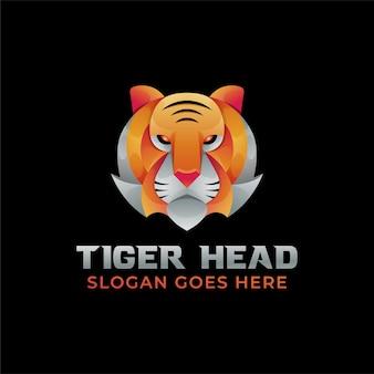 素晴らしいグラデーションカラータイガーヘッドのロゴ