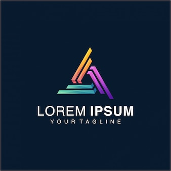 Awesome gradient triangle logo template