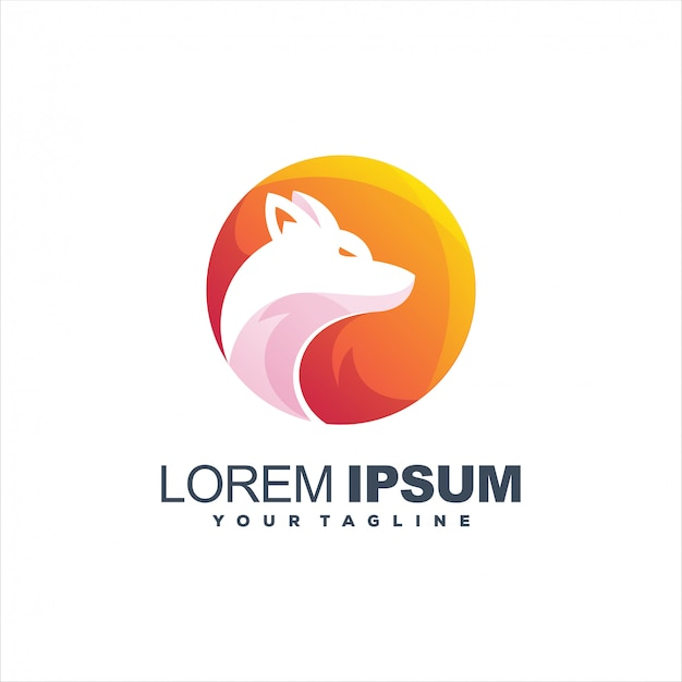 Awesome gradient wolf logo