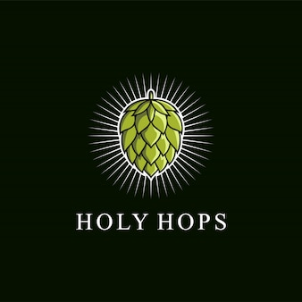 Awesome green hops logo