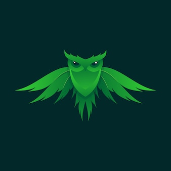 Awesome green owl illustration design