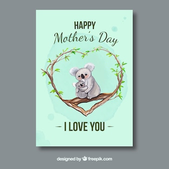 Awesome greeting card with koalas for mother's day