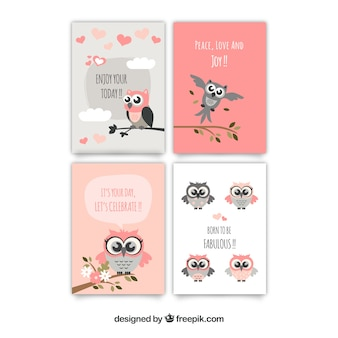 Awesome greeting cards of owls in pastel colors