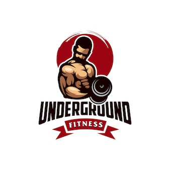 Awesome gym muscle logo design vector