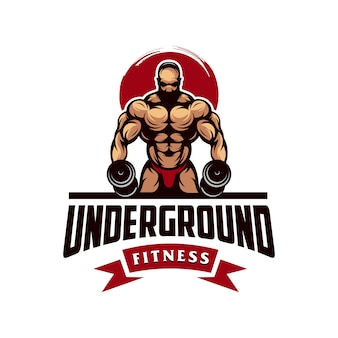 Awesome gym muscle logo vector