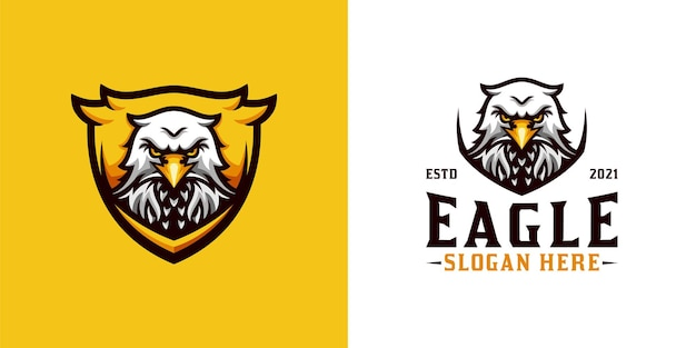 Awesome head eagle mascot logo with shield