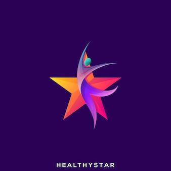 Awesome health people star premium logo Premium Vector