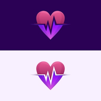 Awesome heart beat logo